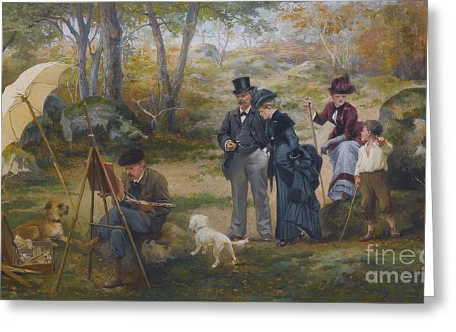 Painter Is Outdoor In Fontainebleau Forest Greeting Card