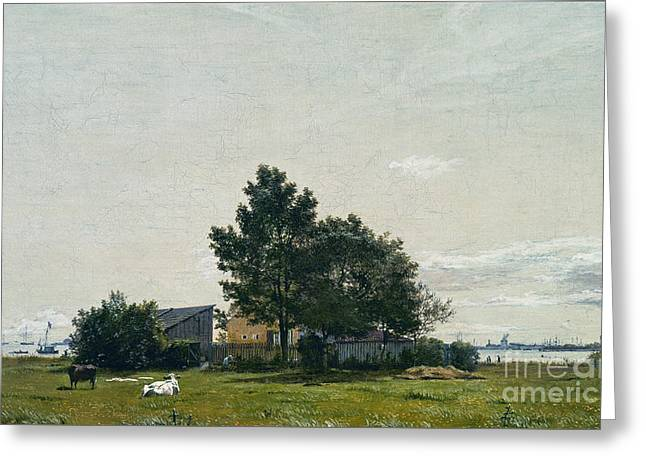 Party Near The Lime Kiln With Views Towards The Copenhagen  Greeting Card by Celestial Images