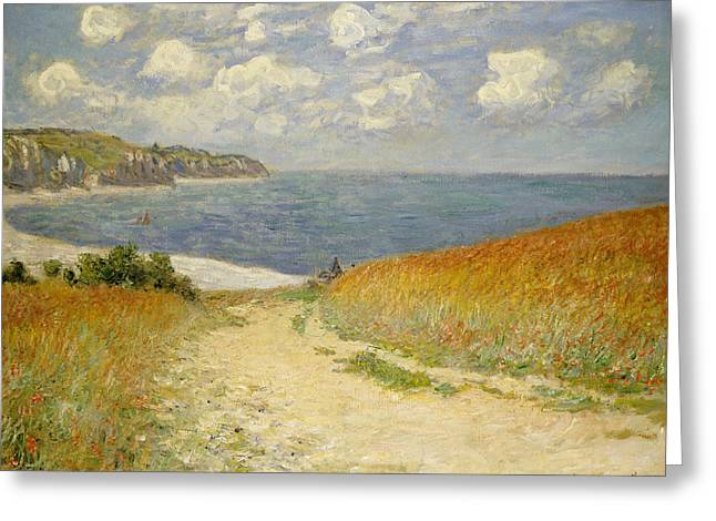 Monet Reproduction Greeting Cards -  Path in the Wheat at Pourville Greeting Card by Claude Monet