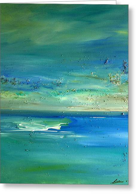 Greeting Card featuring the painting  Pearls Of Tranquility Seascape 1 by Dolores  Deal