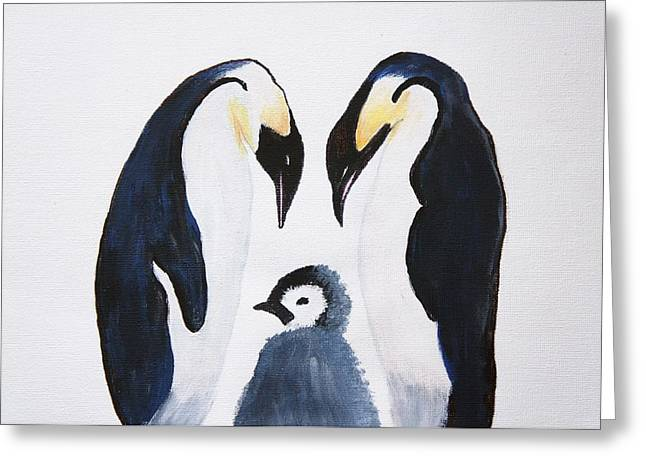 Penguins With Chick  Greeting Card by Art Spectrum
