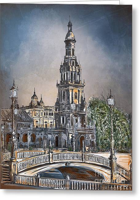 Greeting Card featuring the painting  Plaza De Espana In Seville by Andrzej Szczerski