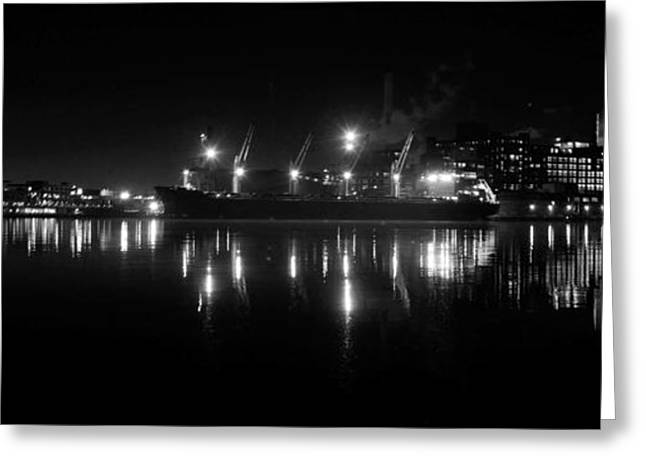 Point Lights Bw Greeting Card