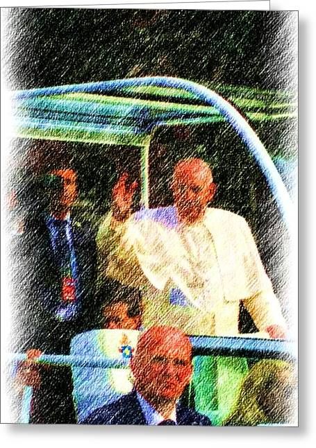 Pope Francis Papal Parade  Greeting Card by C Hammel