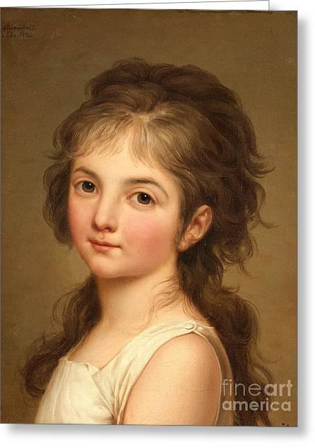 Portrait De Jeune Fille Greeting Card by Celestial Images