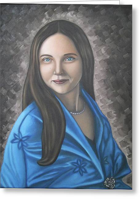 Portrait Of A Lady Oil On Canvas Painting  Greeting Card