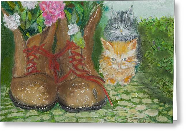 Atlantis Pastels Greeting Cards -  Puss N Boots Greeting Card by Ione Citrin