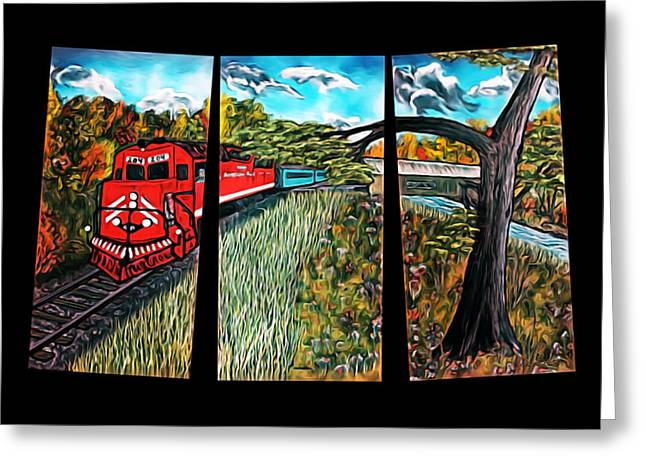 Red Train Passage - Elegance With Oil Greeting Card by Claude Beaulac
