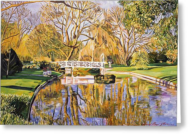 Reflections Of The White Bridge Greeting Card by David Lloyd Glover