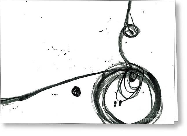 Revolving Life Collection - Modern Abstract Black Ink Artwork Greeting Card by Patricia Awapara