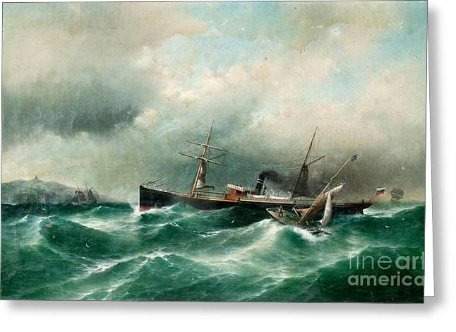 S S Capella On A Stormy Sea. Greeting Card by Celestial Images