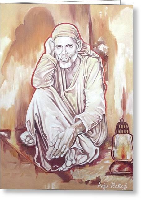 Shirdi saibaba greeting cards pixels sai baba painting greeting card m4hsunfo
