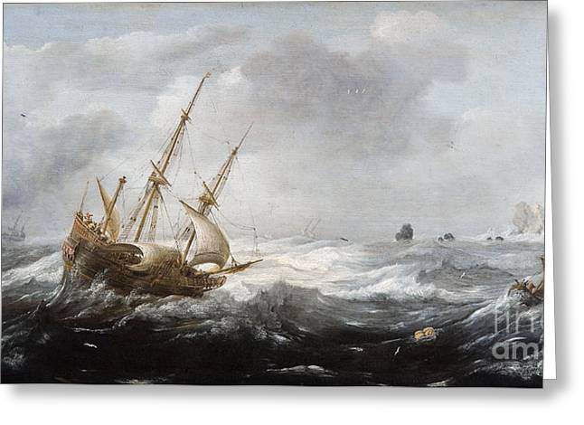 Ships In A Storm On A Rocky Coast Greeting Card by Celestial Images