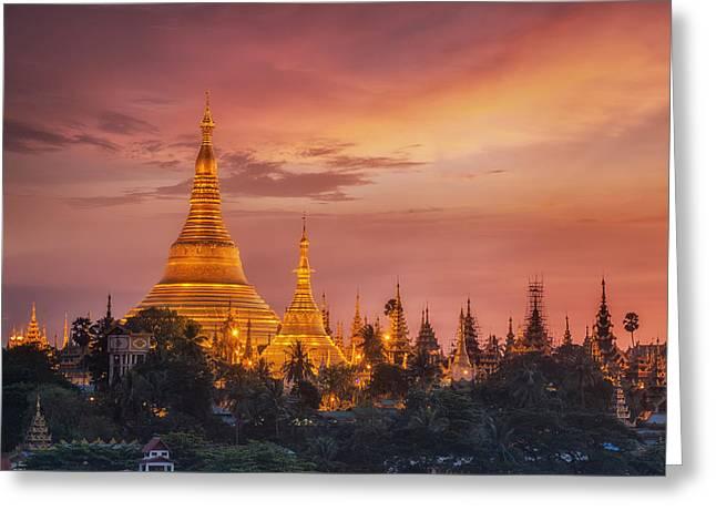 Shwedagon Pagoda Greeting Card by Anek Suwannaphoom