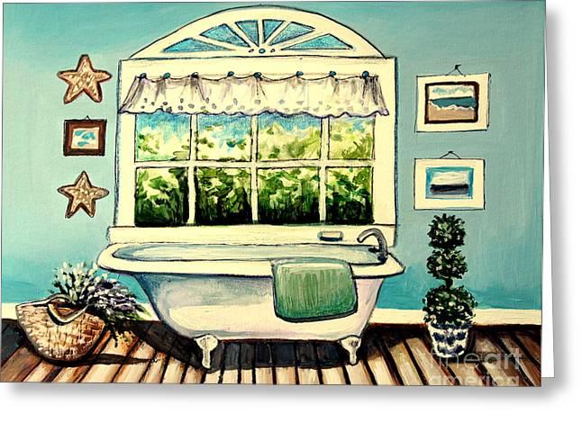 Soak In The Tub Greeting Card by Elizabeth Robinette Tyndall