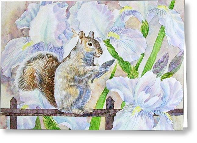 Squirrel And Flowers. Greeting Card by Natalia Piacheva
