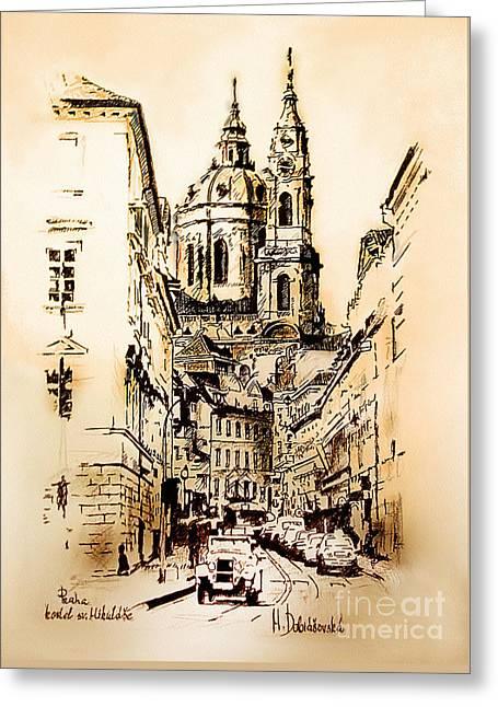St. Nicholas Church In Prague Greeting Card by Melanie D