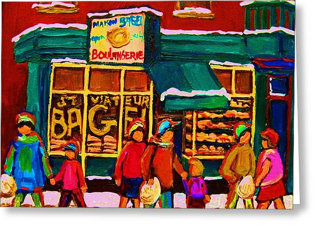 St. Viateur Bagel Family Bakery Greeting Card by Carole Spandau