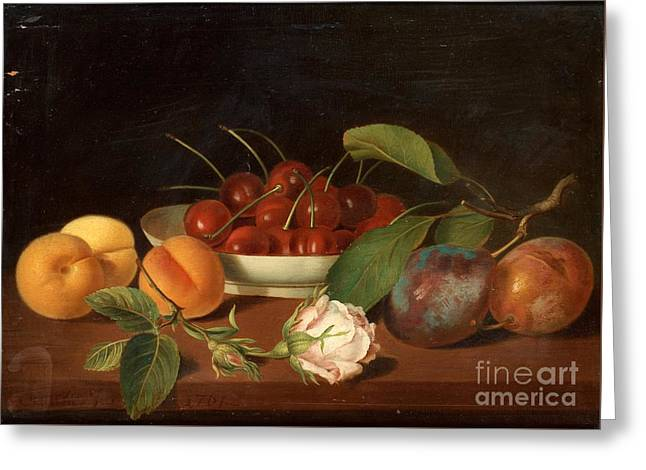 Still Life With Fruits And Flowers Greeting Card by MotionAge Designs