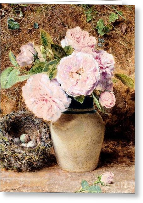 Still Life With Roses In A Vase Greeting Card by MotionAge Designs