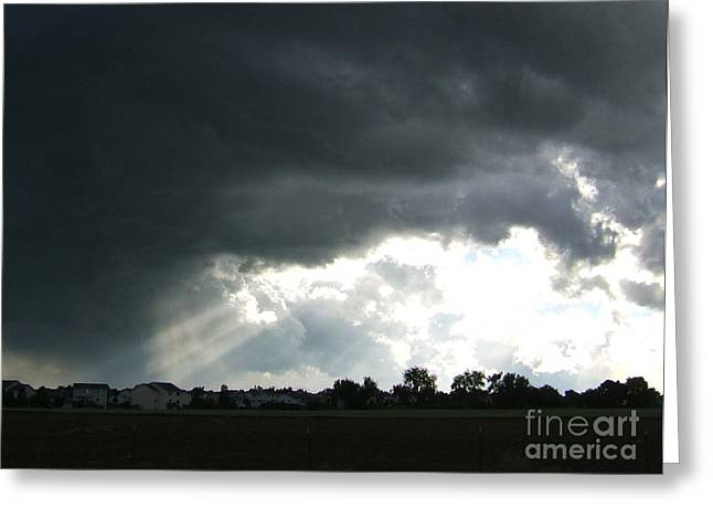 Storm Cloud  Over Westminster Greeting Card by Nancy Rucker