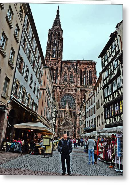 Strasbourg Cathedral. Selfie. Greeting Card by Andy Za