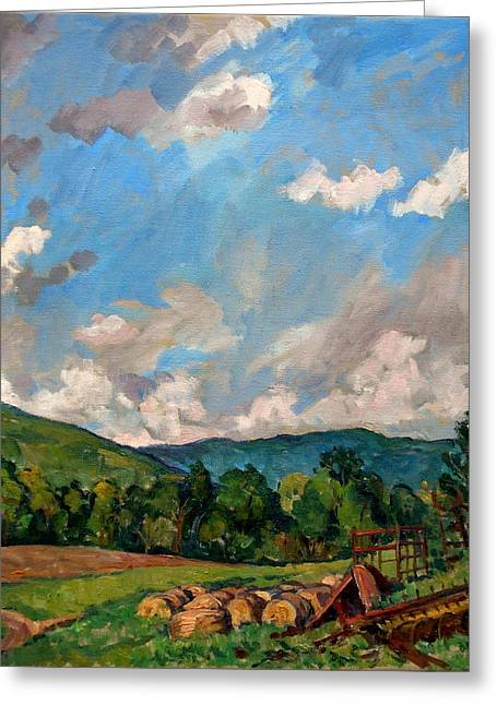 Abstract Realist Landscape Greeting Cards -  Summer Farm Berkshires Greeting Card by Thor Wickstrom
