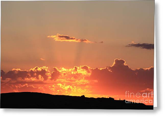 Greeting Card featuring the photograph  Sunset by Edward R Wisell