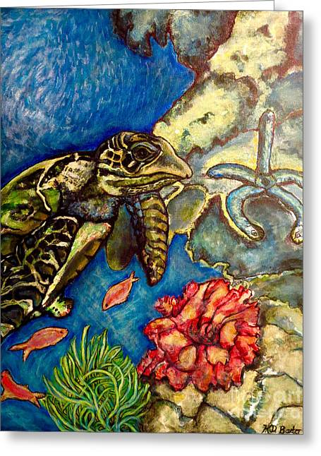Sweet Mystery Of The Sea A Hawksbill Sea Turtle Coasting In The Coral Reefs Original Greeting Card by Kimberlee Baxter