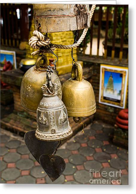 Temple Bell Greeting Card by Honey Bee