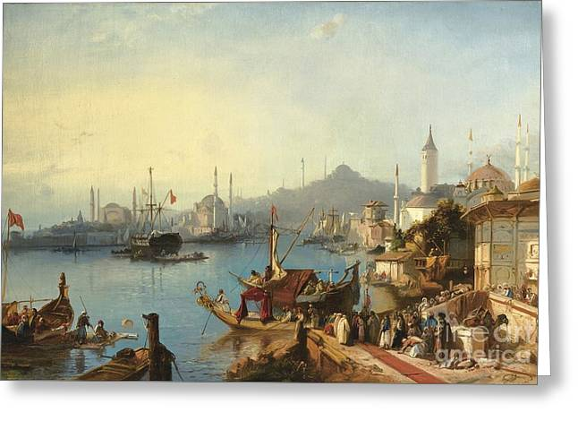 The Arrival Of Sultan Abdulmecid At The Nusretiye Mosque Greeting Card