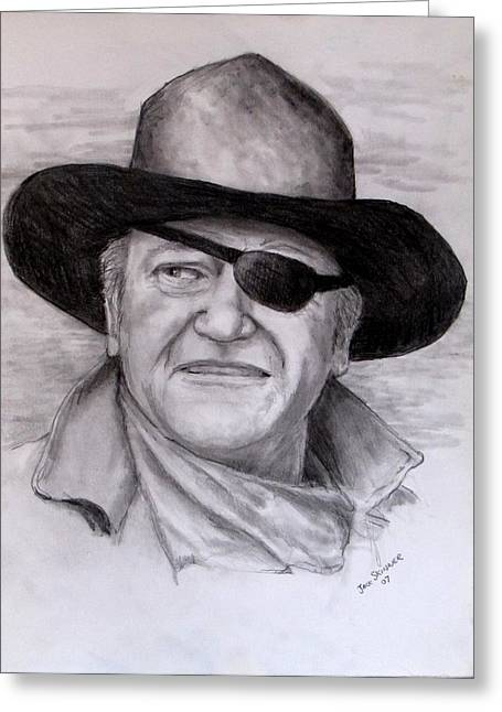 True Grit Drawings Greeting Cards -  The Duke Greeting Card by Jack Skinner
