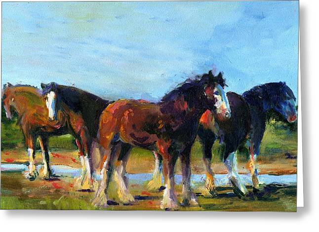 The Four Clydesdales  Greeting Card by Kathy Dueker