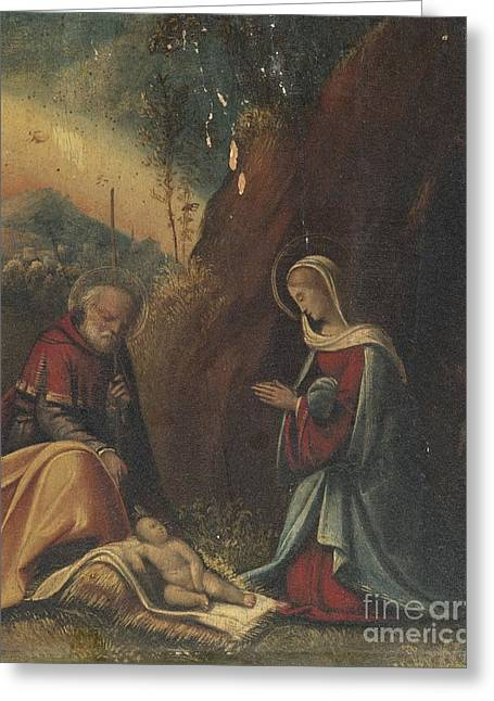The Holy Family In A Landscape Greeting Card by Celestial Images