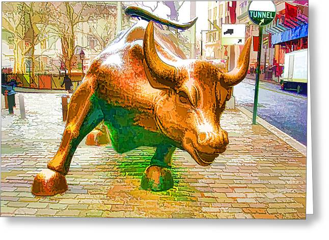 The Landmark Charging Bull In Lower Manhattan  Greeting Card