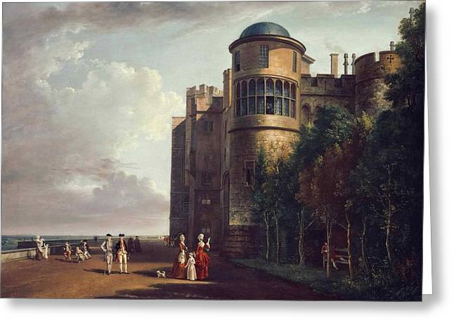 The North Terrace At Windsor Castle Looking East Greeting Card by Paul Sandby