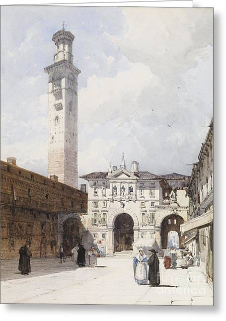 The Piazza Dante Verona Greeting Card by MotionAge Designs