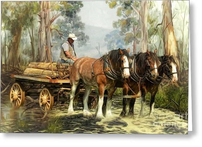 Greeting Card featuring the digital art  The Timber Team by Trudi Simmonds