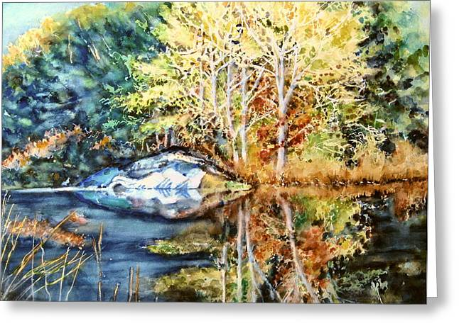 The Tree Across The Pond  Greeting Card by June Conte  Pryor