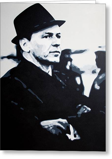 Frank Sinatra Paintings Greeting Cards - - The Winter Wind - Greeting Card by Luis Ludzska