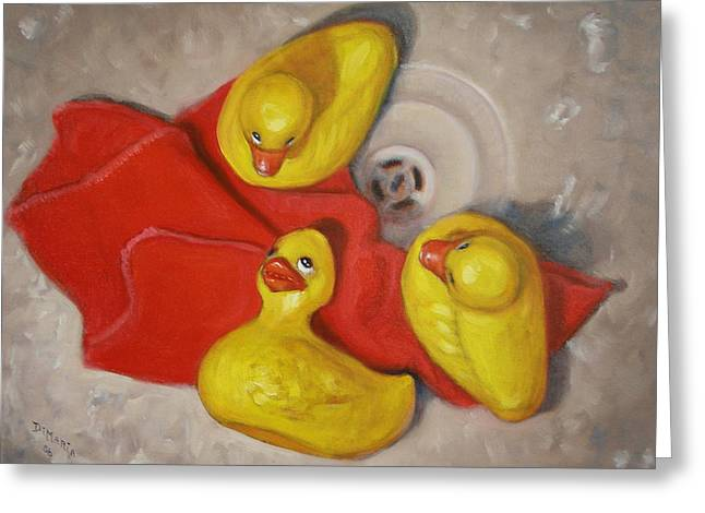Greeting Card featuring the painting  Three Rubber Ducks  #1 by Donelli  DiMaria
