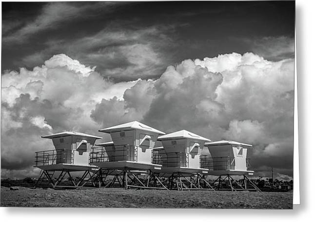 Towers Waiting For Summer  Black And White Greeting Card by Peter Tellone