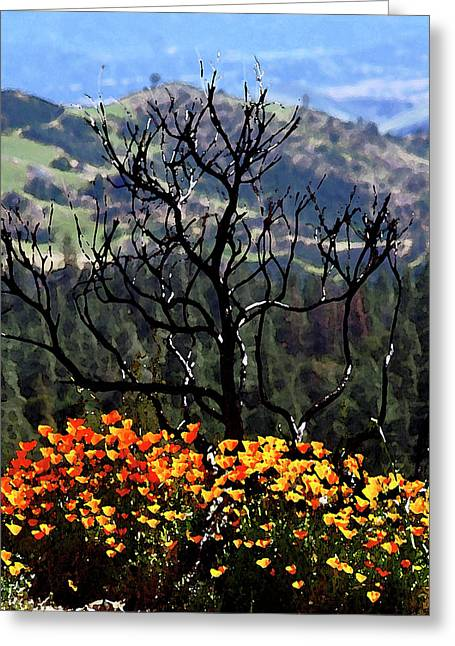 Tree And Poppies Greeting Card
