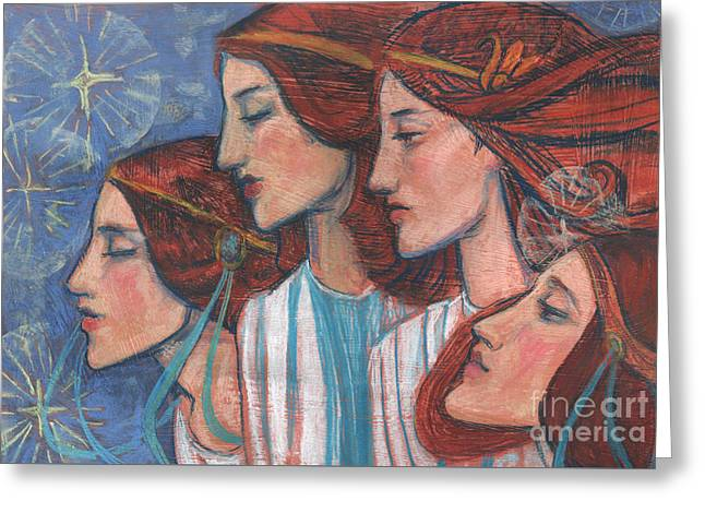 Tribute To Art Nouveau, Pastel Painting, Fine Art, Redhaired Girls Greeting Card by Julia Khoroshikh