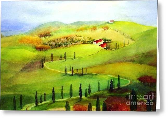 Tuscany Greeting Card by Maryann Schigur