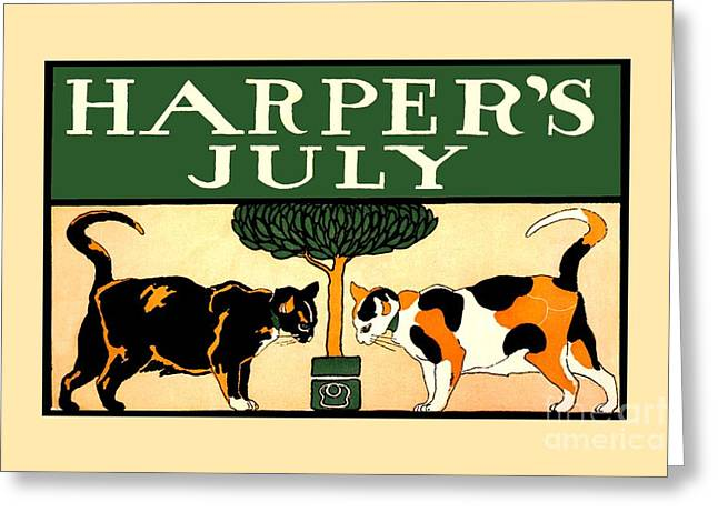 Two Calico Cats, Edward Penfield, Harper's July 1898 Greeting Card