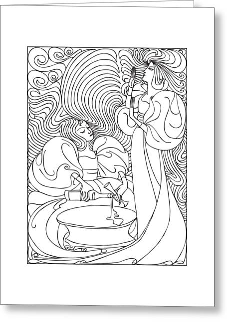 Two Woman With Bottle Of Wine  Greeting Card