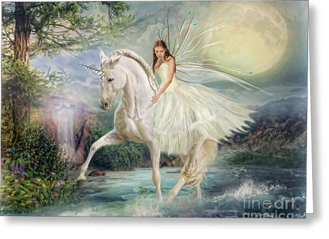Greeting Card featuring the digital art  Unicorn Magic by Trudi Simmonds