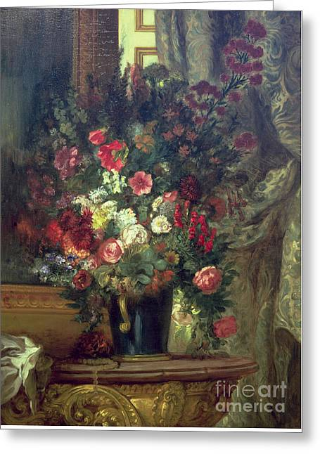 Vase Of Flowers On A Console Greeting Card