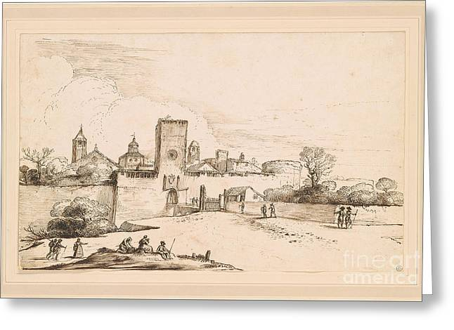 View Of A Walled Town Greeting Card by MotionAge Designs